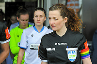 assistant referee Joline Delcroix wearing the rainbow colors to support the holebi community pictured before a female soccer game between  AA Gent Ladies and Club Brugge YLA on the 16th matchday of the 2020 - 2021 season of Belgian Scooore Womens Super League , saturday 13 th of March 2020  in Oostakker , Belgium . PHOTO SPORTPIX.BE | SPP | STIJN AUDOOREN