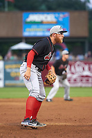 Great Lakes Loons third baseman Matt Beaty (10) during a game against the Kane County Cougars on August 13, 2015 at Fifth Third Bank Ballpark in Geneva, Illinois.  Great Lakes defeated Kane County 7-3.  (Mike Janes/Four Seam Images)