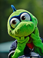 4 July 2012: Vermont Lake Monsters Mascot Champ entertains the fans prior to a game against the Hudson Valley Renegades at Centennial Field in Burlington, Vermont. The Lake Monsters edged out the Renegades the Cyclones 2-1 in NY Penn League action. Mandatory Credit: Ed Wolfstein Photo
