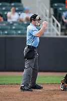 Home plate umpire Chad Dixon makes a strike call during the New York Penn League game between the Hudson Valley Renegades and the Aberdeen IronBirds at Leidos Field at Ripken Stadium on July 27, 2017 in Aberdeen, Maryland.  The Renegades defeated the IronBirds 2-0 in game one of a double-header.  (Brian Westerholt/Four Seam Images)