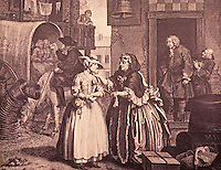 William Hogarth:  A Harlot's Progress--Plate 1, 1732.  Reference only.