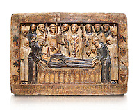 Gothic Catalan marble relief sculpture from the tomb of Margarida Cadell, died 1308, from the convent of Sant Domenee de Puigcerda, Cerdanya, Spain.  National Museum of Catalan Art, Barcelona, Spain, inv no: MNAC  4366. Against a white background.