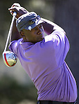 Former NBA player Michael Jordan tees off during a practice round in the 22nd American Century Celebrity Golf Championship at Edgewood Tahoe Golf Course in Stateline, Nev., on Thursday, July 14, 2011. .Photo by Cathleen Allison
