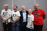 © Joel Goodman - 07973 332324 . 26/09/2016 . Liverpool , UK . Labour Party leader JEREMY CORBYN tours the exhibition and poses with campaigners from Justice for the 24 Shrewsbury Pickets . The second day of the Labour Party Conference at the ACC Liverpool . Photo credit : Joel Goodman