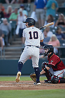 Aaron Palensky (10) of the Somerset Patriots at bat against the Altoona Curve at TD Bank Ballpark on July 24, 2021, in Somerset NJ. (Brian Westerholt/Four Seam Images)