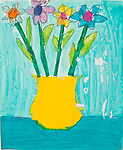 Art work by school age child flowers in vase