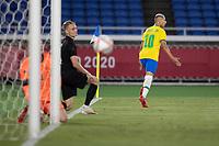 22nd July 2021; Stadium Yokohama, Yokohama, Japan; Tokyo 2020 Olympic Games, Brazil versus Germany; Richarlison of Brazil celebrates his goal in the 6th minute for 1-0