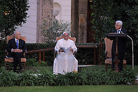Pope Francis arrives with Palestinian leader Mahmud Abbas  and Israeli President Shimon Peres for a joint peace prayer in the gardens of the Vatican.June 8, 2014