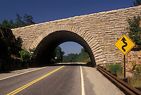 AJ4482, stone bridge, road, arch, Acadia National Park, Maine, Arched stone bridge over a two lane road in Acadia Nat'l Park in the state of Maine.