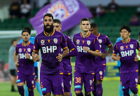 24th March 2021; HBF Park, Perth, Western Australia, Australia; A League Football, Perth Glory versus Sydney FC; Perth Glory players run out at the start of the match