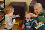 20 month old toddler fraternal twin boys with grandmother language development pointing and talking, child care, grandmother takes care of grandchildren twice a week