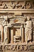 The Sidamara Sarcophagus, with 3rd Cent. AD Roman relief sculptures. Ambararasi (Konya) Turkey. Istanbul Archaeological Museum, Turkey, Inv. 1179 T , Cat. Mendel 112.