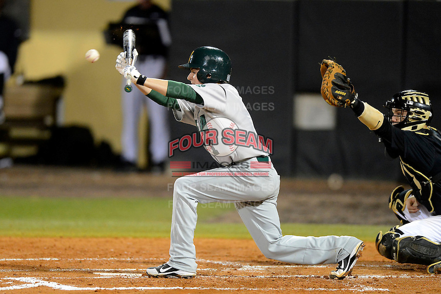 Siena Saints shortstop Tyler Martis #1 during a game against the Central Florida Knights at Jay Bergman Field on February 15, 2013 in Orlando, Florida.  UCF defeated Siena 7-1.  (Mike Janes/Four Seam Images)