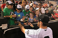 Jackson Generals Stewart Ijames (2) signs autographs after a game against the Chattanooga Lookouts on April 29, 2017 at The Ballpark at Jackson in Jackson, Tennessee.  Jackson defeated Chattanooga 7-4.  (Mike Janes/Four Seam Images)