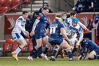 12th February 2021; AJ Bell Stadium, Salford, Lancashire, England; English Premiership Rugby, Sale Sharks versus Bath; Zach Mercer of Bath Rugby about to be tackled by Ross Harrison of Sale Sharks