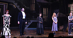 """Leslie Kritzer, Adam Dannheisser, Sophia Anne Caruso, Kerry Butler and Rob McClure during the Broadway Opening Night Performance Curtain Call for """"Beetlejuice"""" at The Winter Garden on April 25, 2019 in New York City."""