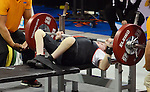 Toronto, ON - Aug 9 2015 - Dylan Sparks competes in men's up to 59kg powerlifting at the Mississauga Sports Centre during the Parapan Am Games. Photo: Kalie Sinclair / Canadian Paralympic Committee