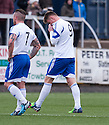 Peterhead's Rory McAllister (9) is sent off.