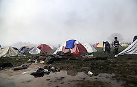 Pictured: A flooded field at the camp  Tuesday 08 March 2016<br /> Re: Heavy overnight rain has flooded the migrant camp at the Greek FYRO Macedonian border of Idomeni in Greece