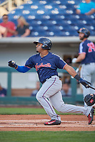 Andy Ibanez (7) of the Nashville Sounds bats against the Reno Aces at Greater Nevada Field on June 5, 2019 in Reno, Nevada. The Aces defeated the Sounds 3-2. (Stephen Smith/Four Seam Images)