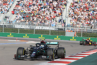 27th September 2020, Sochi, Russia; FIA Formula One Grand Prix of Russia, Race Day; #77 Valtteri Bottas (FIN, Mercedes-AMG Petronas Formula One Team) on his way to winning the race