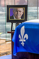 the coffin  of Prime Minister Jacques Parizeau exhibited in chapelle ardente at the Quebec Deposit and Placement Fund Office on Saturday, June 6, 2015, from 10 am to 6 pm<br /> PHOTO :  Agence Quebec presse