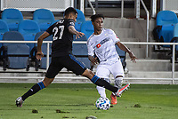 SAN JOSE, CA - NOVEMBER 04: Marcos Lopez #27 of the San Jose Earthquakes challenges Latif Blessing #7 of the Los Angeles FC during a game between Los Angeles FC and San Jose Earthquakes at Earthquakes Stadium on November 04, 2020 in San Jose, California.