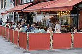 Outdoor pavement cafe, bar, restaurant in South Molton Street, London, close to Oxford Street shops following the easing of Covid-19 lockdown restrictions.