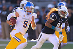 San Jose State quarterback Kenny Potter (5) runs past Nevada linebacker Matthew Lyons (9) during the first half of an NCAA college football game in Reno, Nev., on Saturday, Nov. 14, 2015. (AP Photo/Cathleen Allison)