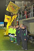 UEFA Women's Euro Qualifying group stage (Group 3) -  KFC Dessel - Armand Melis Stadion : BELGIUM -Northern Ireland ( Belgie - Noord Ierland ) : bank / bench Noord Ierland met Belgische vlaggen.foto DAVID CATRY / Vrouwenteam.be / Loft6.be