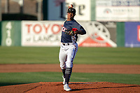 Reggie Lawson (19) of the Lake Elsinore Storm delivers a pitch to the plate against the North Division during the 2018 California League All-Star Game at The Hangar on June 19, 2018 in Lancaster, California. The North All-Stars defeated the South All-Stars 8-1.  (Donn Parris/Four Seam Images)