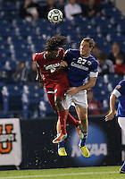 HOOVER, AL - DECEMBER 07, 2012:  Femi Hollinger-Janzen (6) of the University of Indiana goes up for a header against Brent Kallman (27) of Creighton University during an NCAA 2012 Men's College Cup semi-final match, at Regions Park, in Hoover , AL, on Friday, December 07, 2012. Indiana won 1-0.