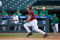 Taylor Walls (10) of the Florida State Seminoles follows through on his swing against the Notre Dame Fighting Irish in Game Four of the 2017 ACC Baseball Championship at Louisville Slugger Field on May 24, 2017 in Louisville, Kentucky. The Seminoles walked-off the Fighting Irish 5-3 in 12 innings. (Brian Westerholt/Four Seam Images)