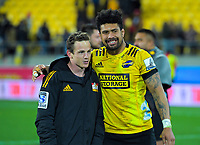 Hurricanes Ardie Savea consoles Chiefs Brad Weber after the Super Rugby Aotearoa match between the Hurricanes and Chiefs at Sky Stadium in Wellington, New Zealand on Saturday, 8 August 2020. Photo: Dave Lintott / lintottphoto.co.nz