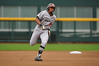 Maryland Terrapins Marty Costes (42) runs toward third base during the Big Ten Tournament game against the Indiana Hoosiers at TD Ameritrade Park on May 25, 2016 in Omaha, Nebraska.  Maryland  won 5-3.  (Dennis Hubbard/Four Seam Images)