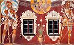 Deutschland; Bayern; Rosenheimer Land; Wasserburg am Inn: Wandmalerei am Brucktor (14. Jh) | Germany; Bavaria; Rosenheimer Land; Wasserburg am Inn: wall painting at Gate Brucktor (14th century)