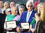 ARCADIA, CA - NOVEMBER 5: Arrogate jockey Mike Smith with trainer Bob Baffert in the winner's circle after the the Breeders' Cup Classic during day two of the 2016 Breeders' Cup World Championships at Santa Anita Park on November 5, 2016 in Arcadia, California. (Photo by Bob Mayberger/Eclipse Sportswire/Breeders Cup)