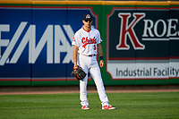 Peoria Chiefs left fielder Dylan Carlson (5) during a game against the West Michigan Whitecaps on May 9, 2017 at Dozer Park in Peoria, Illinois.  Peoria defeated West Michigan 3-1.  (Mike Janes/Four Seam Images)