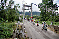 Nils Politt (DEU/BORA - hansgrohe) leading a speeding peloton in the first hour of racing > after 50km no rider was able to break away...<br /> <br /> 73rd Critérium du Dauphiné 2021 (2.UWT)<br /> Stage 7 from Saint-Martin-le-Vinoux to La Plagne (171km)<br /> <br /> ©kramon