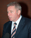 Gers manager Ally McCoist leaves Ibrox after meeting with supporters from The Rangers Supporters Association, Rangers Supporters Assembly and Rangers Supporters Trust at Ibrox Park who demanded answers over the current crisis and the future of the club.