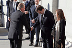 Spain King Juan Carlos I greets Spain President Mariano Rajoy while attends the 11M March 11, 2004 terrorist attempt remember mass at Almudena Cathedral in Madrid, Spain. March 11, 2014. (ALTERPHOTOS/Victor Blanco)
