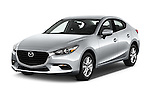 2018 Mazda Mazda3 Sport 4 Door Sedan Angular Front stock photos of front three quarter view