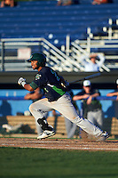 Vermont Lake Monsters second baseman Jesus Lopez (2) at bat during a game against the Batavia Muckdogs August 9, 2015 at Dwyer Stadium in Batavia, New York.  Vermont defeated Batavia 11-5.  (Mike Janes/Four Seam Images)