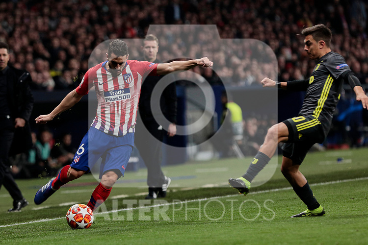 Atletico de Madrid's Koke Resurreccion and Juventus' Paulo Dybala during UEFA Champions League match, Round of 16, 1st leg between Atletico de Madrid and Juventus at Wanda Metropolitano Stadium in Madrid, Spain. February 20, 2019. (ALTERPHOTOS/A. Perez Meca)