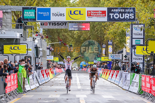 Casper Pedersen (DEN) Team Sunweb outsprints Benoit Cosnefroy (FRA) AG2R-La Mondiale to win Paris-Tours 2020, running 213km from Chartres to Tours, France. 11th October 2020.<br /> Picture: ASO/Jonathan Biche | Cyclefile<br /> All photos usage must carry mandatory copyright credit (© Cyclefile | ASO/Jonathan Biche)