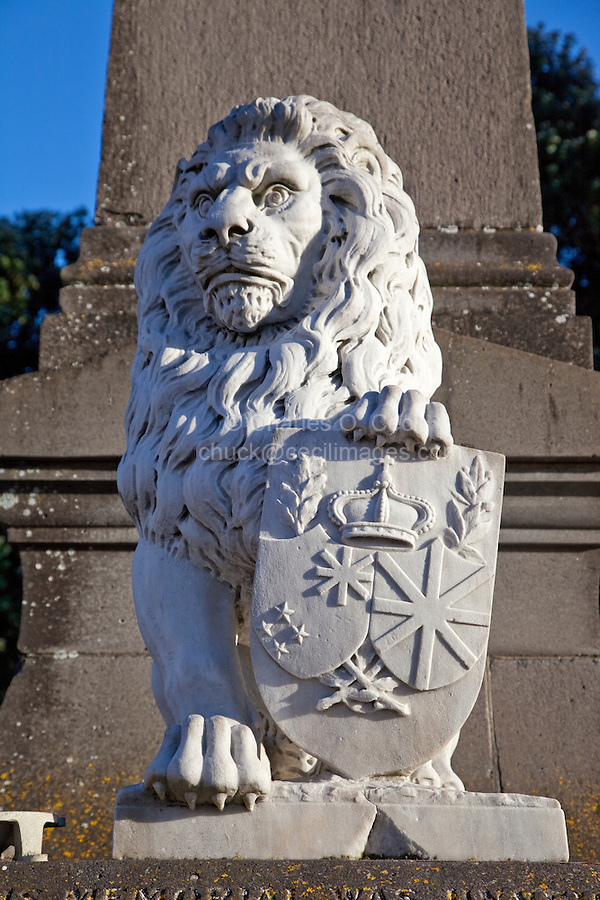 """British Lion at Base of Statue of Lord Plunket, 1906 Governor of New Zealand, Napier, north island, New Zealand.   The monument is in memory of New Zealanders from Hawke's Bay who fought in the Boer War in South Africa, 1899-1902, """"serving the empire's cause.""""  Some say the lion looks constipated."""