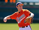 Infielder John Hinson (4) of the Clemson Tigers prior to a game against the Wright State Raiders Saturday, Feb. 27, 2011, at Doug Kingsmore Stadium in Clemson, S.C. Photo by: Tom Priddy/Four Seam Images
