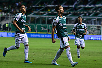 PALMIRA - COLOMBIA, 28-09-2019: Juan Ignacio Dinenno del Cali celebra después de anotar el segundo gol de su equipo durante partido entre Deportivo Cali y Patriotas Boyacá por la fecha 13, cudrangulares semifinales, de la Liga Águila I 2019 jugado en el estadio Deportivo Cali de la ciudad de Palmira. / Juan Ignacio Dinenno of Cali celebrates after scoring the second goal of his team during match between Deportivo Cali and Patriotas Boyaca for the date 13 as part of Aguila League I 2019 played at Deportivo Cali stadium in Palmira city.  Photo: VizzorImage / Nelson Rios / Cont