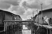 A fishing village settlement  built on stilts above Lagos Lagoon in Nigeria.