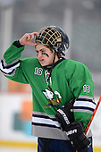 Notre Dame Fighting Irish of Batavia forward Bryce Polito (18) during warmups before a varsity ice hockey game against the Brockport Blue Devils during the Section V Rivalry portion of the Frozen Frontier outdoor hockey event at Frontier Field on December 22, 2013 in Rochester, New York.  (Copyright Mike Janes Photography)